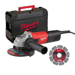 KIT SMERIGLIATRICE 800 W D. 115 + DISCO DIAMANTATO + VALIGETTA AG800-115E D-SET MILWAUKEE
