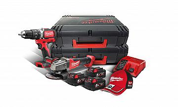 KIT 18V TRAPANO PERCUSSIONE BRUSHLESS + SMERIGLIATRICE MILWAUKEE M18 SET2P-503X CON 3 BATTERIE