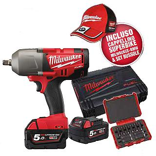 KIT MILWAUKEE M18 CHIWF12-502XA COMPOSTO DA AVVITATORE AD IMPULSI M18 CHIWF FUEL 950NM+SET BUSSOLE- INCLUSO CAPPELLINO SUPER BIKE MILWAUKEE BMW