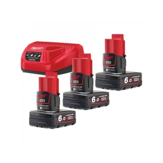 KIT ENERGY PACK MILWAUKEE M12 NRG-603 COMPOSTO DA 3 BATTERIE 6.0 AH